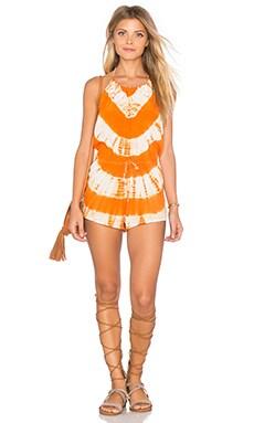 Frankies Bikinis Dylan Romper in Orange Crush Tie Dye