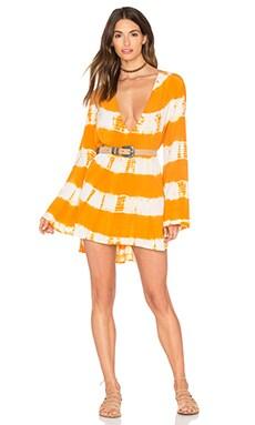 Frankies Bikinis Hana Dress in Orange Crush Tie Dye