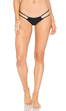 Frankie's Bikinis Oceanside Seamless Skimpy Braided Bottom in Black
