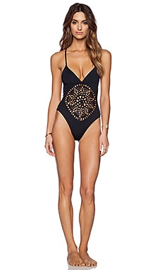 Frankie's Bikinis Poppy One Piece Swimsuit in Jet Black