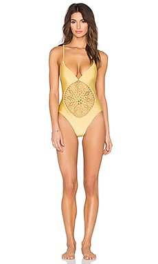 Frankie's Bikinis Poppy Swimsuit in Gold