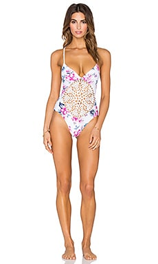 Frankie's Bikinis Poppy Swimsuit in Floral & Stripe