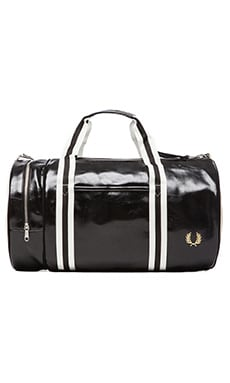 Fred Perry Classic Barrel Bag in Black & Ecru
