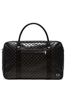 Fred Perry Checkerboard Overnight Bag in Black