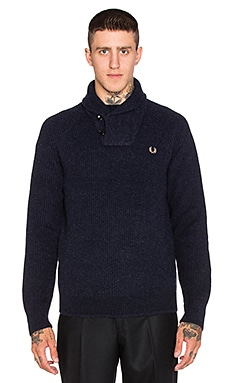 Fred Perry Fisherman's Shawl Collar Knit Sweater in Navy Marl