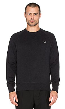 Fred Perry Loopback Crew Neck Sweatshirt in Black Marl
