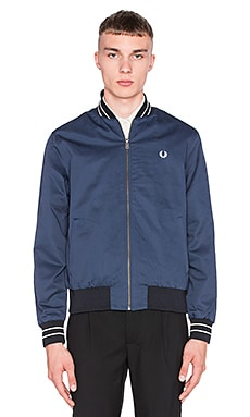 Fred Perry Cotton Bomber Jacket in Service Blue