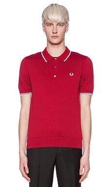 Fred Perry Tipped Knit Shirt in Vintage Red