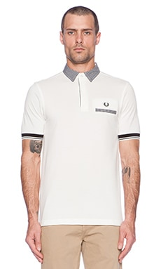 Fred Perry Gingham Trim Tipped Polo in Snow White