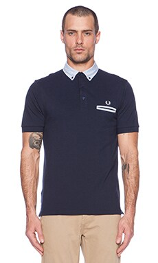 Fred Perry Woven Trim Pique Shirt in Blue Granite