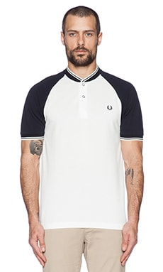Fred Perry Bomber Neck Pique Shirt in Snow White