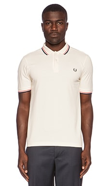 Fred Perry Twin Tipped Polo in Ecru Strawberry Carbon Blue
