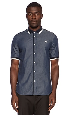 Fred Perry Twin Tipped Chambray Shirt in Indigo