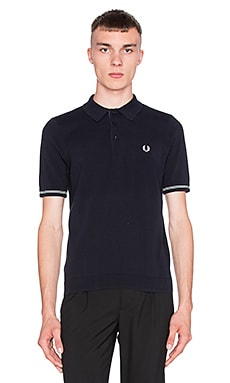 Fred Perry Pique Texture Knitted Shirt in Navy