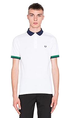 Fred Perry Colour Block Pique Shirt en Blanc