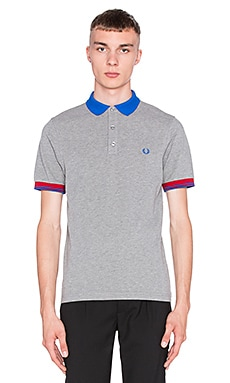 Fred Perry Color Block Pique Shirt en Steel Marl