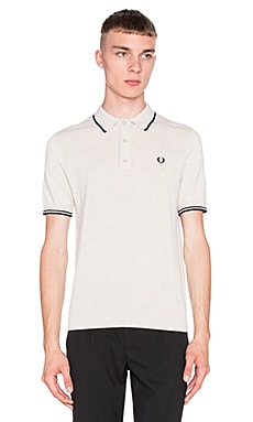 Fred Perry Knitted Shirt in Oatmeal Marl