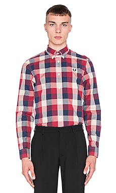 Fred Perry Winter Twill Gingham Shirt in Russo