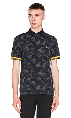 Fred Perry Camouflage Pique Shirt in Black