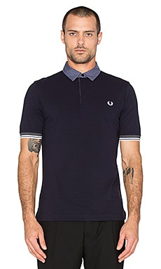 Fred Perry Marl Gingham Trim Pique Shirt in Navy