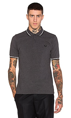 Fred Perry Slm Fit Twin Tipped Polo in Graphite Marl Snow White Black