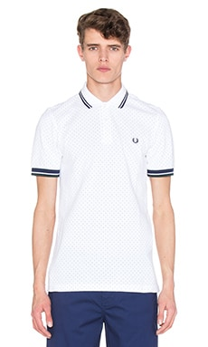 Fred Perry Polka Dot Pique Polo in White