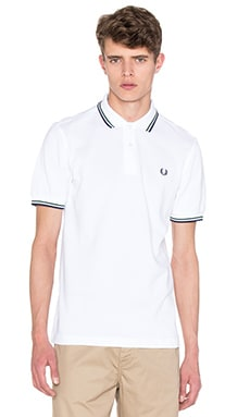 Fred Perry Twin Tipped Polo in White & Mid Ivy & French Navy