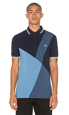 Fred Perry Blue Colour Block Panel Polo in Blue Marl