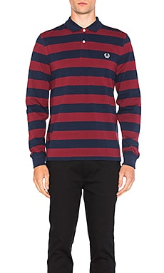 Striped Pique Polo in Marron