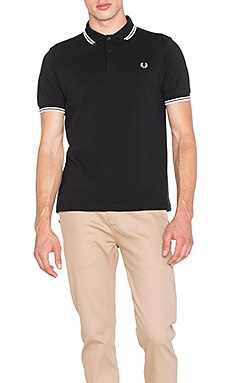 Slim Fit Twin Tipped Polo in Black & Porcelain