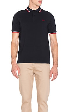 Slim Fit Twin Tipped Polo in Navy & White & Red