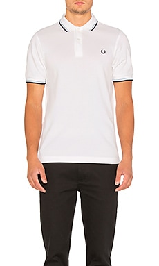 Fred Perry Twin Tipped Slim Fit Polo en White & Navy & Ice