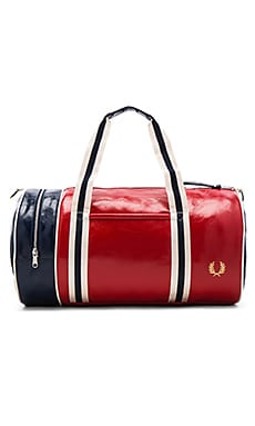 Fred Perry Classic Barrel Bag in Tartan Red & Navy & Ecru