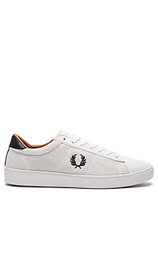 Fred Perry Spencer Mesh & Leather Sneakers in White & Black