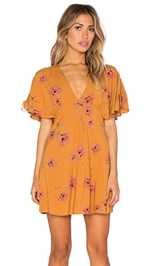 Free People Drapey Melanie Dress in Mustard Combo