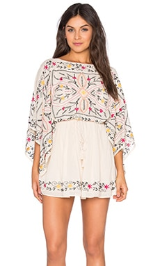 Free People Frida Embroidered Dress in Ivory Combo