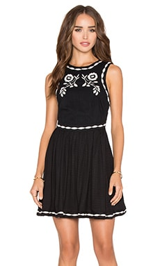 Free People Delightful Birds of Feather Dress in Black