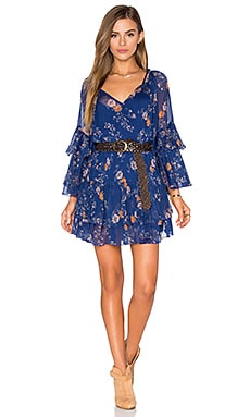 Free People Sunsetter Printed Dress in Blue Combo