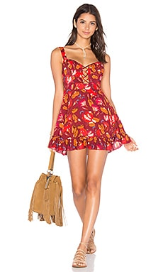 Lattice Lovers Slip Dress in Red Combo