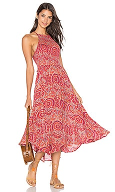 Seasons in the Sun Dress in Red Combo