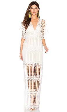 Night Whispers Lace Maxi Dress en Crema