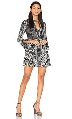 Tegan Boarder Printed Mini Dress in Black Combo