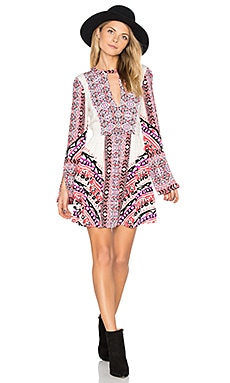 Tegan Boarder Printed Mini Dress in Ivory Combo