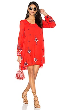 Oxford Embroidered Mini Dress in Red Combo