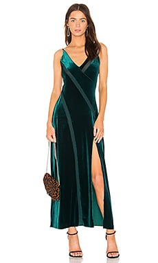 Spliced Velvet Maxi Dress