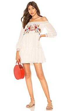 Купить Мини платье sunbeams - Free People, В цветочек, Индия, Белый
