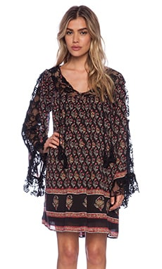 Free People Nomad Child Dress in Black Combo