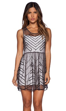 Free People Embellished Mesh Mini Slip in Charcoal