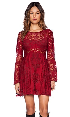 Free People Lover&-39-s Folk Song Dress in Rich Red - REVOLVE