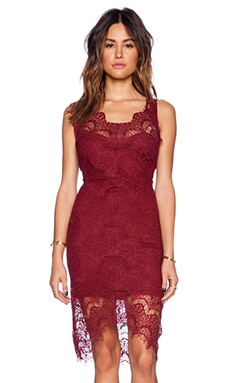 Free People Peek-A-Boo Slip Dress in Deep Cranberry